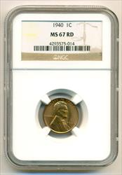 1940 Lincoln Wheat Cent MS67 RED NGC