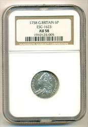 Great Britain Silver 1758 6 Pence AU58 NGC