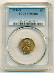 1938 S Lincoln Wheat Cent MS67 RED PCGS