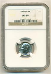 1969 D Roosevelt Dime MS68 NGC