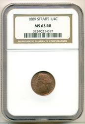 Straits Settlements (Malaysia) 1889 1/4 Cent MS63 RB NGC