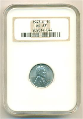 1943 D Lincoln Wheat Steel Cent MS67 NGC