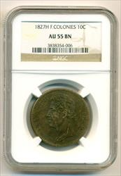 French Colonies 1827 H 10 Centimes AU55 BN NGC