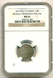 India Bengal Presidency Silver AH1204//19 (1806 AD) 1/4 Rupee KM-104 MS62 NGC