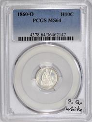 1860-O Half Dime PCGS MS-64; Premium Quality, White