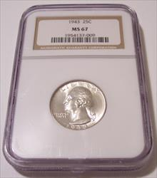1943 Washington Quarter MS67 NGC