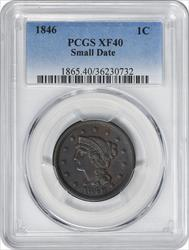 1846 Large Cent Small Date EF40 PCGS
