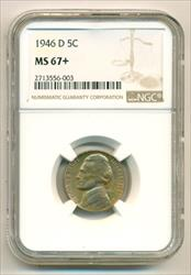 1946 D Jefferson Nickel MS67+ NGC