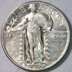 1930 Standing Liberty Quarter; Choice AU