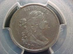 Half Cents Draped Bust C8 SPIKED CHIN PCGS AU55