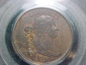 Half Cents Draped Bust C1 SMALL 5 STEMLESS PCGS MS62BN