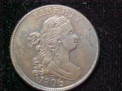Half Cents Draped Bust C4 LARGE 6 STEMS UNCERTIFIED AU50