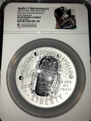 2019-S Apollo 11  5oz NGC Proof 69 Early Release