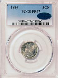 1884 3-Cent Nickel PCGS PR67 CAC