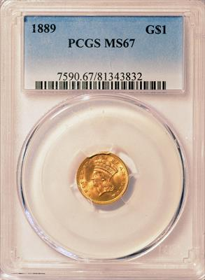 1889 Indian $1 PCGS MS67
