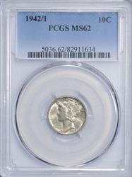 1942/1 Mercury 10C PCGS MS62