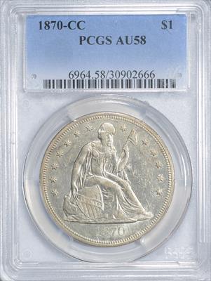 1870-CC Seated Liberty $1 PCGS AU58