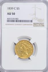 1839-C Liberty $5 NGC AU50