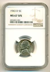 1943 D Jefferson Silver Nickel MS67 5FS NGC
