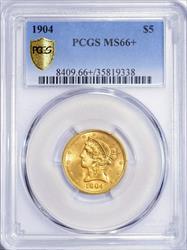 1904 Liberty $5 PCGS MS66+