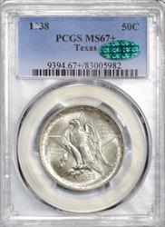 1938 50C Commemorative Texas PCGS MS67+ CAC