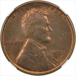 1931-S Lincoln 1C NGC MS64 Red Brown