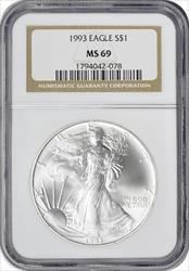 1993 $1 American Silver Eagle MS69 NGC