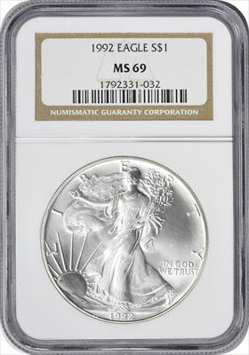 1992 $1 American Silver Eagle MS69 NGC