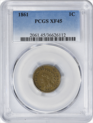 1861 Indian Cent EF45 PCGS