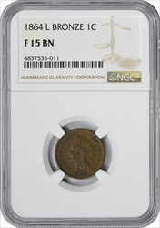 1864 Indian Cent L on Ribbon F15BN NGC