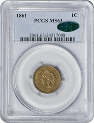 1861 Indian Cent MS63 PCGS (CAC)