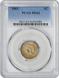 1863 Indian Cent MS63 PCGS