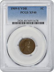1909-S VDB Lincoln Cent EF40 PCGS