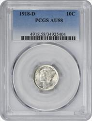 1918-D Mercury Dime AU58 PCGS