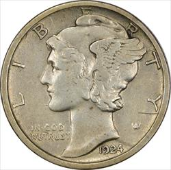 1924-D Mercury Dime EF Uncertified
