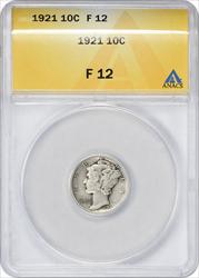 1921-P Mercury Dime F12 ANACS
