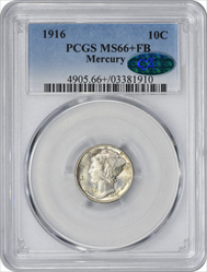 1916-P Mercury Dime MS66+FB PCGS (CAC)