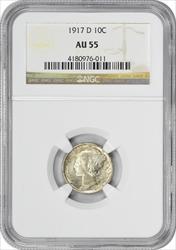 1917-D Mercury Silver Dime AU55 NGC