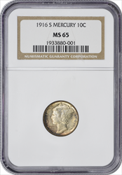 1916-S Mercury Silver Dime MS65 NGC