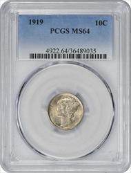 1919-P Mercury Silver Dime MS64 PCGS