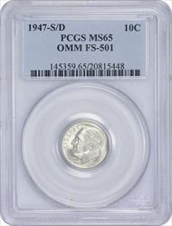 1947-S/D Roosevelt Dime OMM  FS-501 MS65 PCGS
