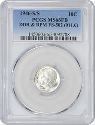 1946-S/S Roosevelt Dime DDR and RPM FS-502 MS66FB PCGS
