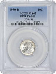 1950-D Roosevelt Dime DDR FS-801 MS65 PCGS