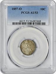 1857-O Liberty Seated Silver Dime AU53 PCGS