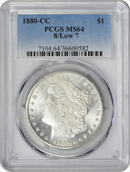 1880-CC Morgan Silver Dollar 8/Low 7 MS64 PCGS