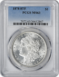 1878-P Morgan Silver Dollar 8TF MS63 PCGS