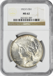 1923-S Peace Dollar MS62 NGC