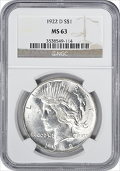 1922-D Peace Dollar MS63 NGC