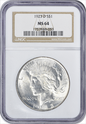 1923-D Peace Dollar MS64 NGC
