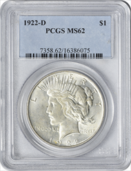 1922-D Peace Silver Dollar MS62 PCGS